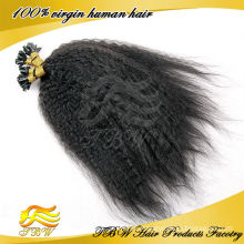 Indian Kinky straight u tip hair extensions wholesale, nail tip hair extension