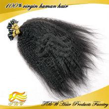 Indiano Kinky reta u ponta extensões de cabelo por atacado, extensão do cabelo da ponta do prego