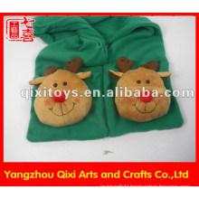 Fashion shawl plush animal moose head gloves scarf winter scarf