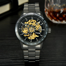 western automatic skeleton mechanical men watch