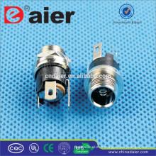 Daier Noir Métal 2.1mm / 2.5mm Filet DC-025M1 Connecteur de Prise d'Alimentation CC / Prise d'Alimentation CC / Prise Électrique