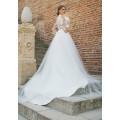 BIE-02 2016 La nueva manera atractiva ve a través la blusa apta Applqiued el vestido de boda nupcial del vestido de boda de largo completo Una línea princesa