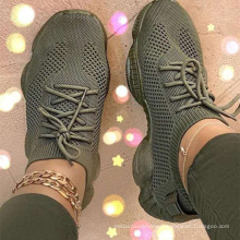 big size 43  ready to ship fashion 3D fabric fly knitted light weight women casual walking shoes