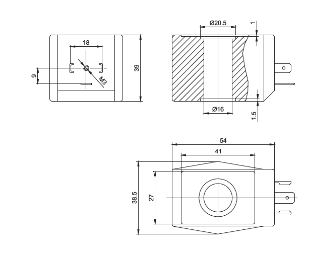 Dimension of BB16039001 Solenoid Coil: