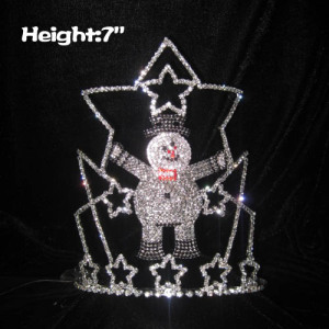 7in Height Crystal Snowman Shaped Christmas Crowns