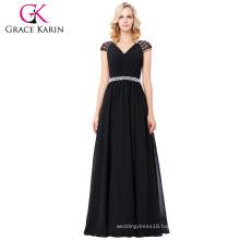 Grace Karin Cap Sleeve V-Neck Black Long Chiffon Prom Dress 8 Size US 2~16 GK000135-1