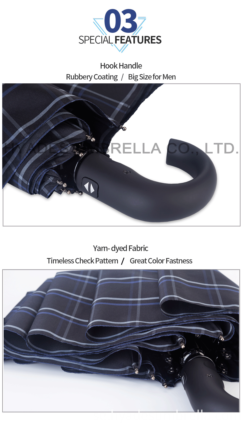 Mens Folding Umbrella Classic Yarndye Fabric 1