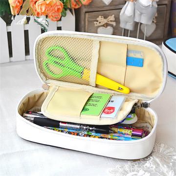 Caja de lápiz de cuero de lujo promocional de encargo de las señoras de las ventas al por mayor