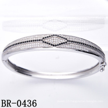 Micro Pave Setting 925 Sterling Silver Bangle (BR-0436)