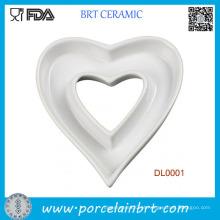 Placa de prato de cerâmica em forma de coração