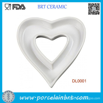 Home Decotation Heart Shape Ceramic Dish Plate