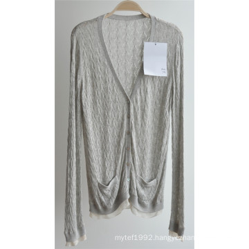 Ladie V Neck Cardigan Patterned Knitwear with Button