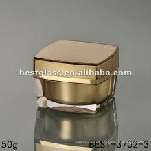 Frasco de acrílico cuadrado 50g con tapa de oro cuadrado