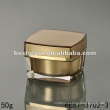 50g square acrylic jar with square gold cap