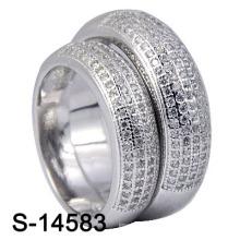 925 Sterling Silber pflastern Micro Ringe für Paar (S-14583)