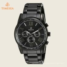 Homens preto multi-função relógio de quartzo pulseira 72508