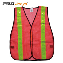 Yellow mesh warning safety vest with PVC tape