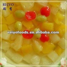 Enlatado, frutas, coquetel, luz, xarope