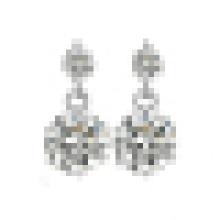 Women′s Fashion 925 Sterling Silver Double Crystal Earrings