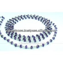 Chaîne à perles facettées en argent naturel et améthyste Rondelle, bijoux gemmes en gros