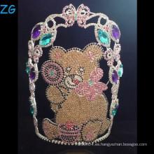 Coloreado Rhinestone Teddy Bear Corona, Tiara por encargo