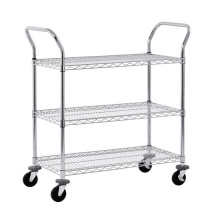"4""Casters Mesh Cart Rack with 3 Shelves Wire Shelving"