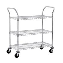 """4 """"Casters Mesh Cart Rack com 3 prateleiras Wire Shelving"""