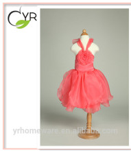 baby girl party dress Backless Petal princess dress with Big flower Hang neck