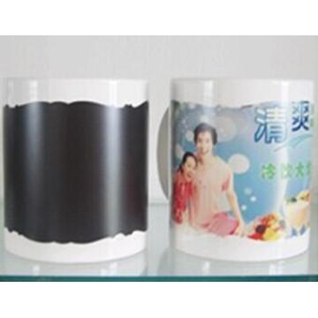 11oz white mug with patch color changing irregular edge black