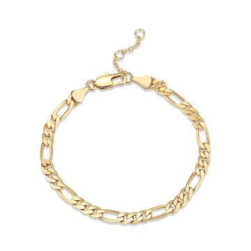 14K Gold Plated Paperclip Curb Figaro Chain Adjustable Bracelet for Women