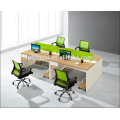Green partition 4 person staff desk 09