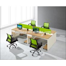 Green partition 4 person staff desk 09