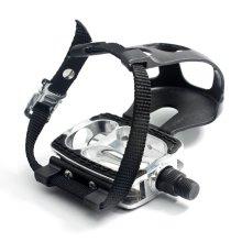 Pedais de bicicleta com clipe de dedo do pé e alça de alumínio