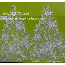 3D French Lace Fabric Embroidered Beaded Lace Fabric for Wedding Dress Bridal Gown CTC402B