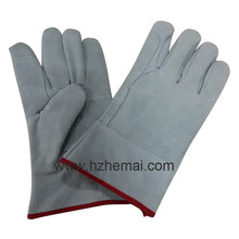 Double Palm Cow Split Leather Gloves Short Welding Work Glove