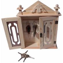 An der Wand befestigter Schlüsselorganisator / Schlüsselschrank - natürlicher hölzerner Schlüsselspeicher-Schrank