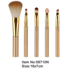 5pcs plastic handle golden ferrule nylon hair travel makeup brush kit