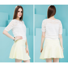 Short Sleeve White Color Women′s Autumn Jacket