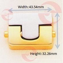 Rectangle Push Lock pour sac à main (R1-21A)