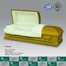 Fancy American Wooden Veneer Casket Coffin For Funeral Cremation