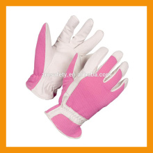 Guante de jardín de cuero de piel de cerdo Spandex rosada