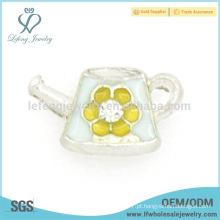 Liga de zinco encantos flor bonito, esmalte personalizado encantos locket flutuante