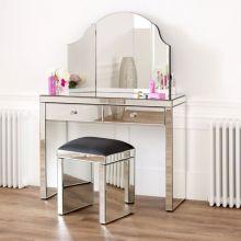 Penteadeira com 2 gavetas com espelho veneziano + conjunto de espelho de cortesia com três lados