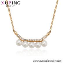 44128 Hot vente femmes bijoux plaqué or micro conception pavé de perles collier de chaîne