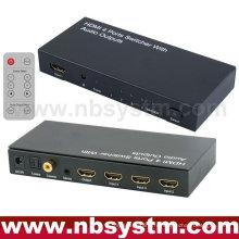 Commutateur HDMI avec sortie audio (4xHDMI à l'entrée, 1xHDMI + Stéréo + Sortie Toslink + Coaxiale optique) avec télécommande