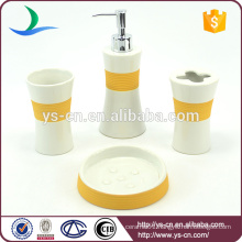 Hot Selling Ceramic Hotel Home Orange Bathroom Accessories Set