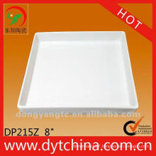 8 Inch square white china plates