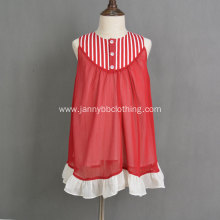 Hot sale red chiffon cotton linen stripe dress