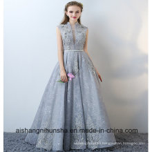 Elegant Sleeveless Prom Gown with Collar Applique Halter Evening Dress