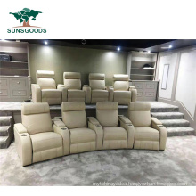 American Style Home Theater Cinema Furniture Genuine Leather Manual Recliner Sofa